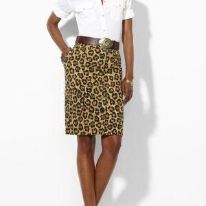 Lauren Ralph Lauren Leopard Print Skirt